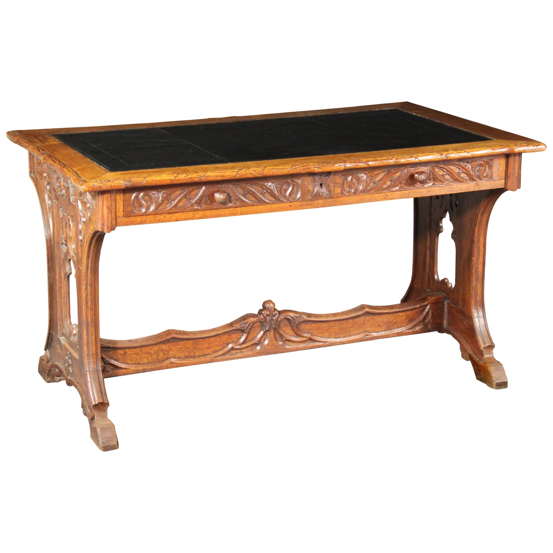 Neo-Gothic Oak Writing Table