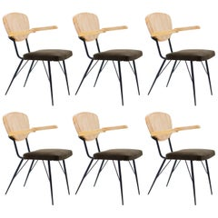 Italian Modern Dining or Conference Armchairs Light Wood Leather Iron Chairs