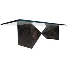 Stunning Glass Top Brutalist Coffee Table by Paul Evans for Directional