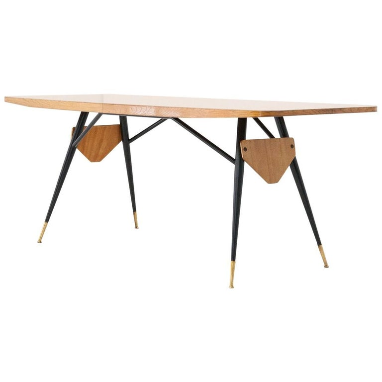 Italian Mid-Century Modern Dining or Conference Table Grey Glass Iron Brass Oak