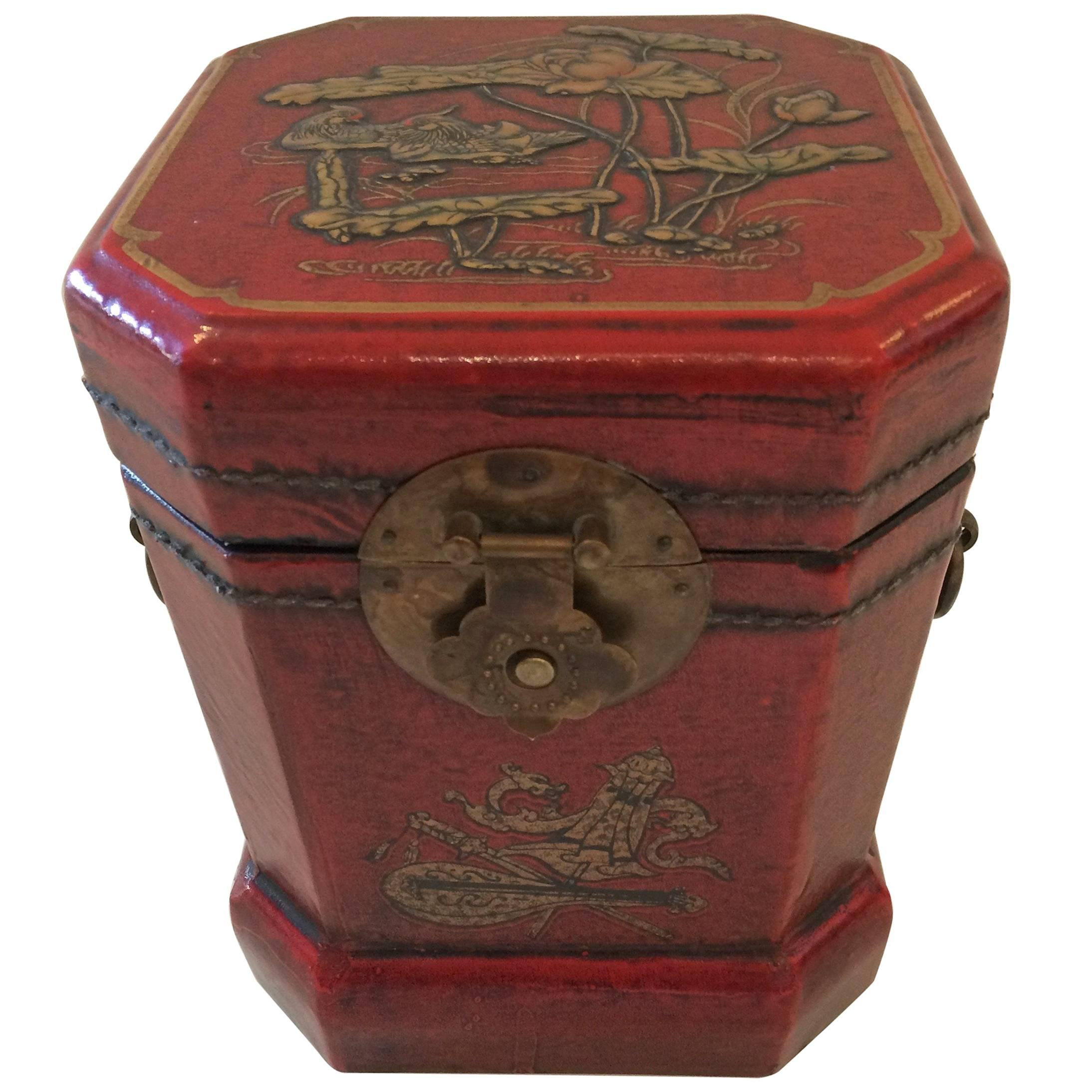 Luscious Leather Embossed Hand-Painted Chinoiserie Box