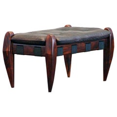 Jean Gillon Brazilian Jacarandá Rosewood Ottoman Stool Brown Leather by Wood Art