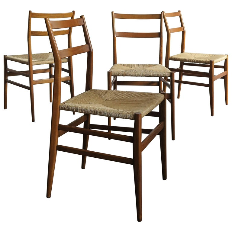 "1950s Gio Ponti Italian Midcentury Design Dining Chairs ""Leggera"" for Cassina"