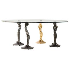 Coffee Table by Salvino Marsura, Hand-Forged Wrought Iron, Late 20th Century