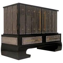 1920s Murano Rectangular Black Wood and Art Glass Italian Sideboards