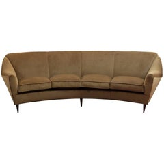 "Large Curved Four-Seat Italian Sofa, Newly Upholstered in ""Caramel"" Velvet"