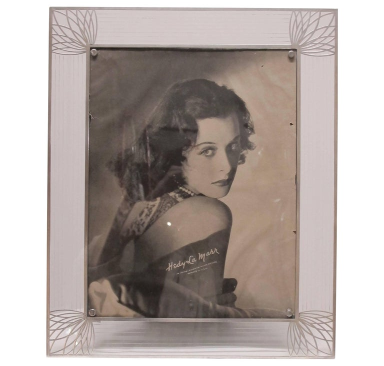 Art Deco Sterling Silver and Glass Framed Photo of Hedy Lamar For Sale