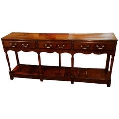 Antique Oak Narrow Pot Board Dresser