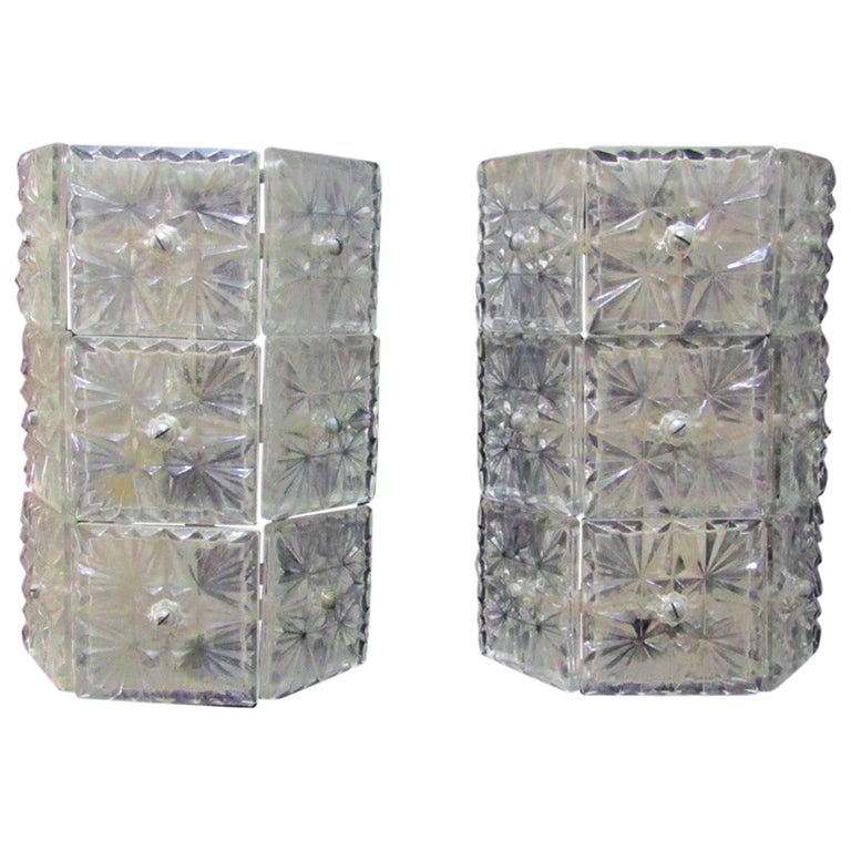 Large Crystal Sconces, Italy, 1960s, Set of Two