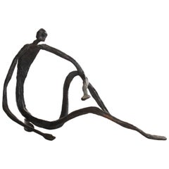 Modern Figurative Sculpture in Hand-Forged Textured Wrought Iron