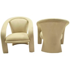 Modern Pop Vladimir Kagan Style Lounge Chairs by Carsons in Ultrasuede