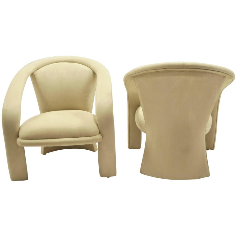 Modern Pop Lounge Chairs by Carsons in Ultrasuede For Sale