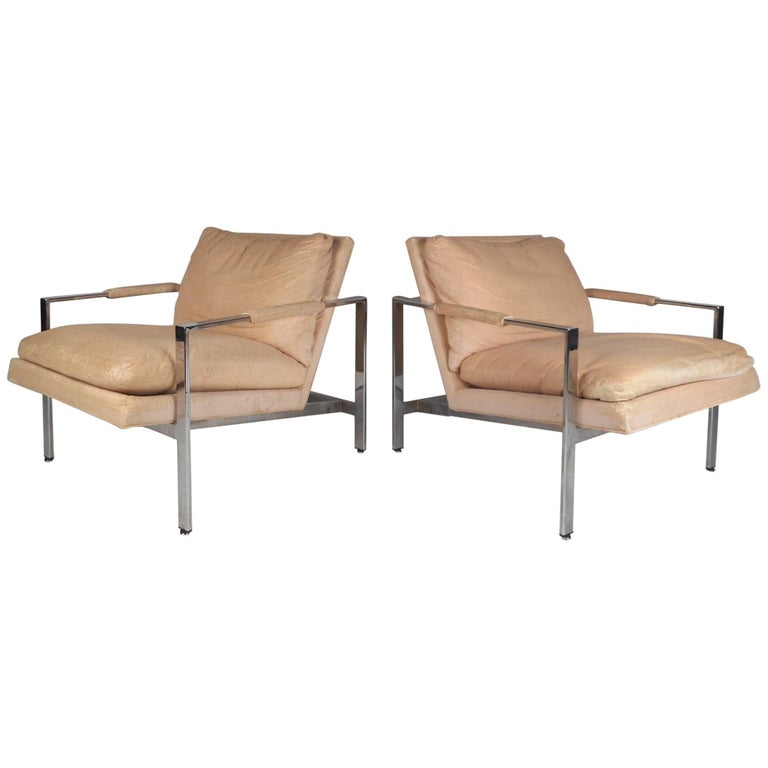 Pair of Flat Bar Chrome Lounge Chairs by Milo Baughman for Thayer Coggin