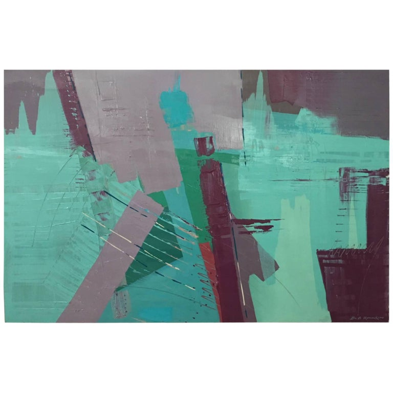 Original Bob Rankin Large Abstract Painting in Teal and Violet