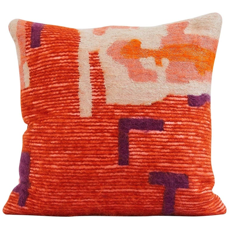 Handcrafted Embroidered Pillow Orange Gold and Beige Wool Yarn For Sale