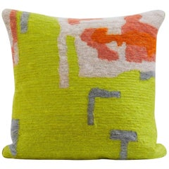 Handcrafted Embroidered Pillow Lime Gold and Grey Wool Yarn