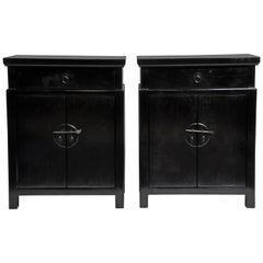 Pair of Chinese Side Chests with a Drawer and Shelf
