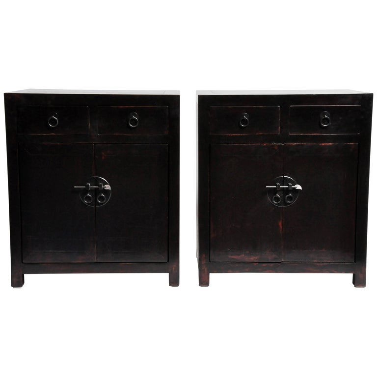 Pair of Chinese Side Chests with Two Drawers and a Shelf