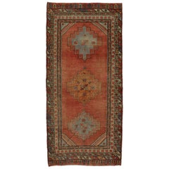 Vintage Turkish Oushak Gallery Rug with Mission Style, Wide Hallway Runner