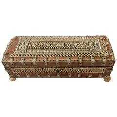 Treasure of an Anglo-Indian Bone and Burlwood Inlay Box
