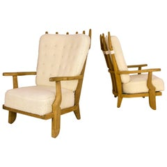 Pair of Armchairs by Guillerme et Chambron, circa 1960, France