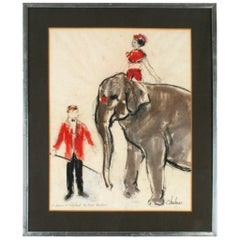 """""""The Elephant Trainer at The Circus Bouglione"""" by André Legrand-Chabrier"""