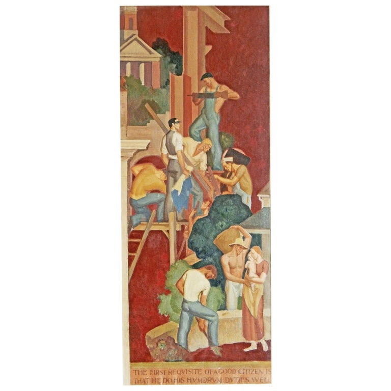 """The First Requisite,"" Important Art Deco-WPA Mural Study Depicting Laborers For Sale"