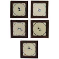 Five 18th Century Delft Blue and White Animal Tiles in Hardwood Frames