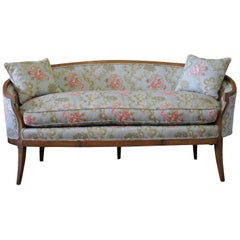 20th Century Vintage Modern Walnut Settee Upholstered in Blue Floral