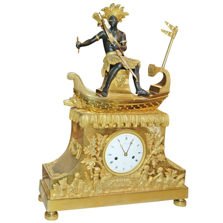 Exceptional Bronze Bon Sauvage Clock For Sale