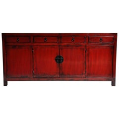 Red Lacquered Chinese Sideboard with Four Drawers and Bi-Folding Doors
