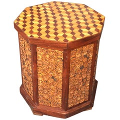 Folk Art Octagonal Side Table Marquetry Top Signed WM A Duncan, 1985