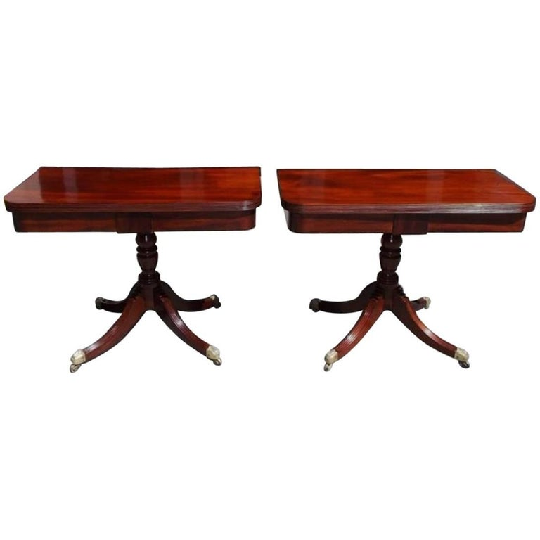 Pair of English Regency Mahogany and Crossbanded Rosewood Card Tables, C. 1815