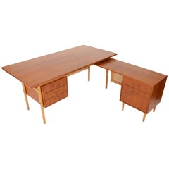 Torben Strandgaard Teak and Oak Executive Desk with Return