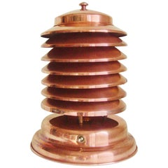 Rare Iconic Canadian Art Deco/Machine Age Copper 7-Tier Louvered Coulter Lamp