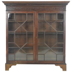 Antique Bookcase, Walnut Display Cabinet, Two Astragal Doors, Scotland, B1047