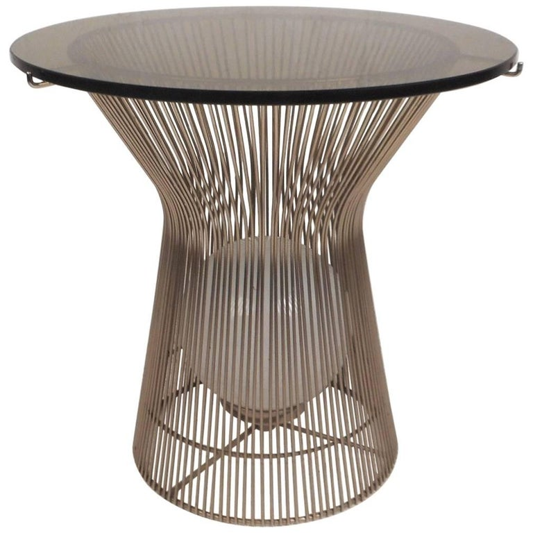 Unusual Warren Platner Style Side Table With A Light Inside For