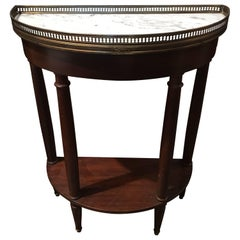 French Demilune or Console Table with a Marble Top, 19th Century