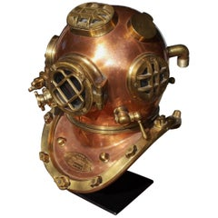 American Copper and Brass Replica Naval Diving Helmet, Boston, MA. 20th Century