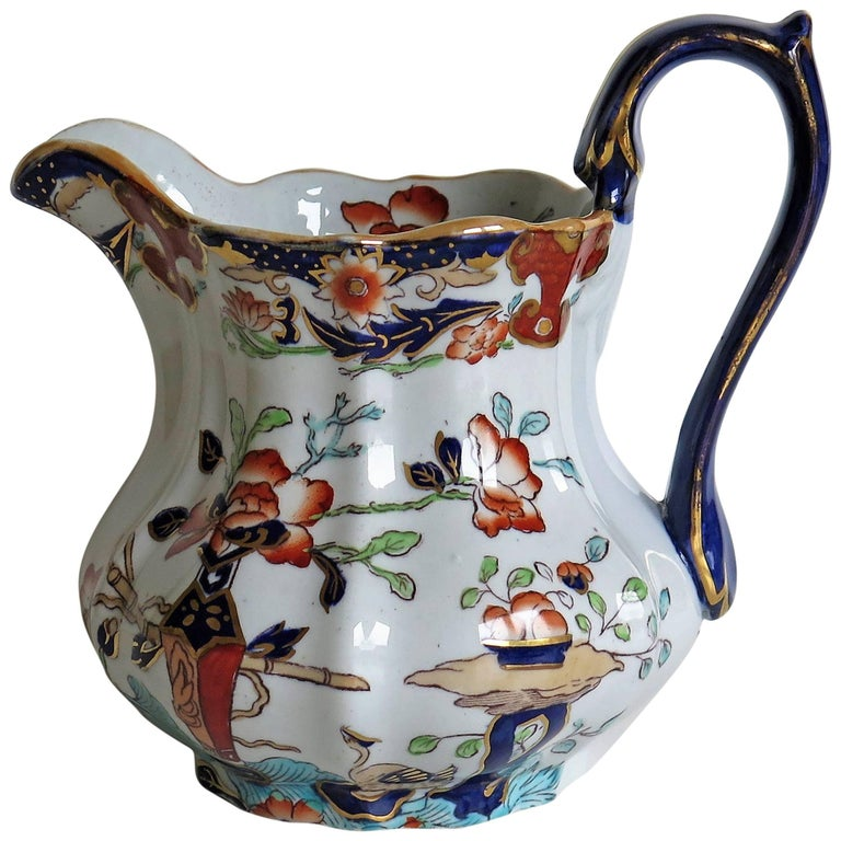 Mason's Ironstone Jug or Pitcher Table and Flower Pot Pattern, circa 1890