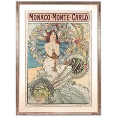 """French Art Nouveau Lithograph """"Monaco Monte-Carlo"""" by Alphonse Mucha"""