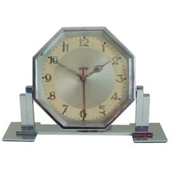 Large German Art Deco Chrome Hexagonal Tilting Alarm Clock