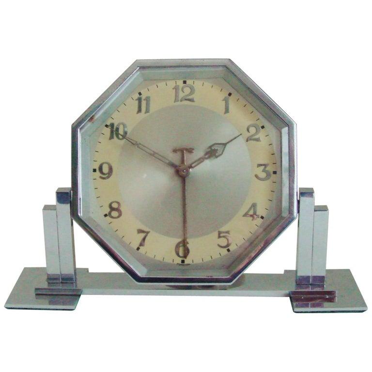 Large German Art Deco Chrome Hexagonal Tilting Alarm Clock