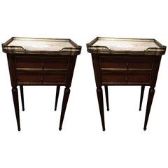 Pair of French Napoleon Side or Bedside Tables with Gallery Tray, 19th Century