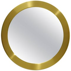 Round Brass Mirror from Glasmäster Markaryd, Sweden, circa 1960
