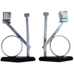 Rare Pair of Italian Futurist/Art Deco Chrome and Black Enamel Candlesticks