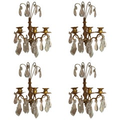 Set of Four French Gilt Metal and Crystal Sconces, 19th Century
