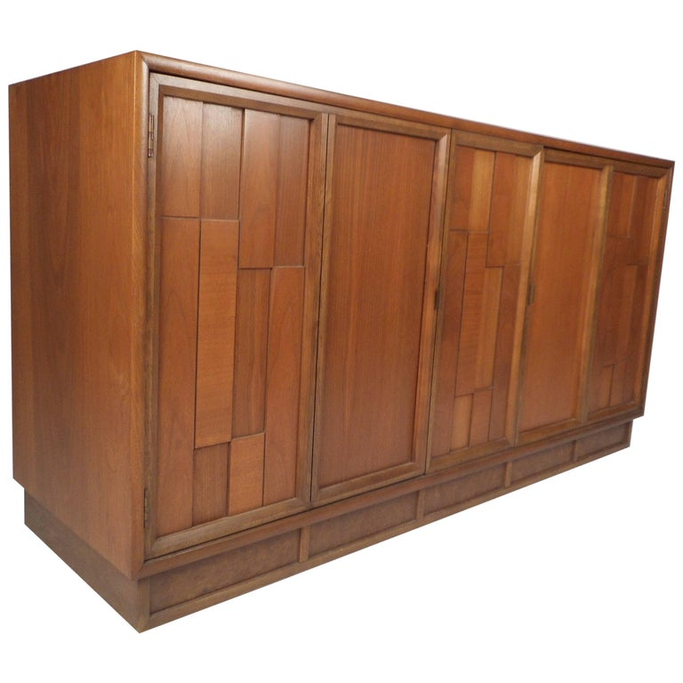 Mid-Century Modern Brutalist Front Credenza For Sale