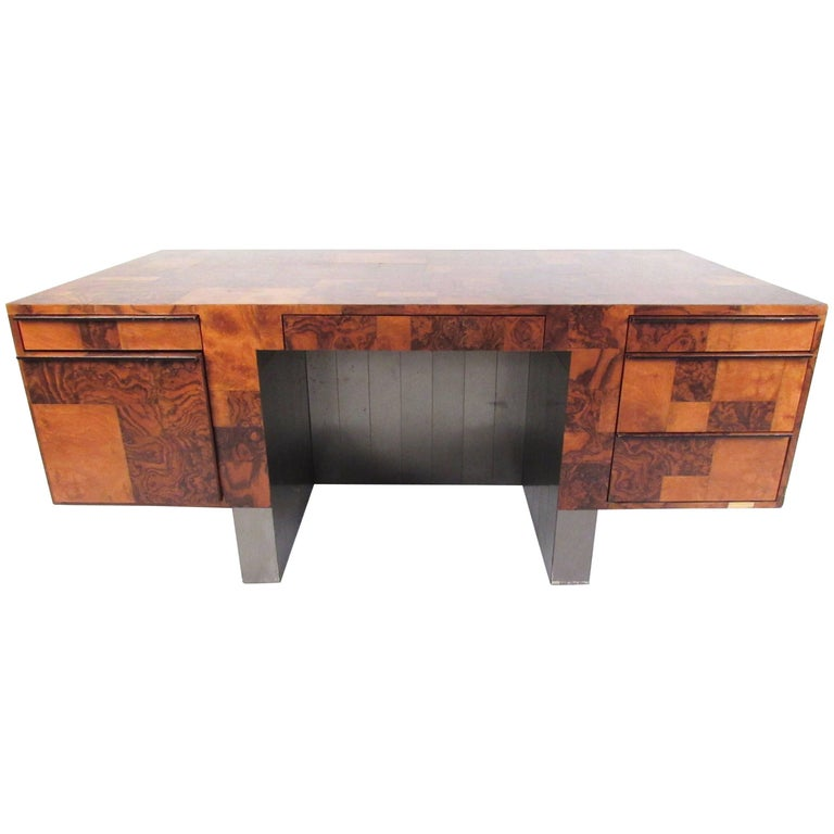 "Paul Evans ""Cityscape"" Executive Desk in Burl Walnut"