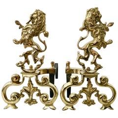 "Pair Of Georgian Style English Solid Brass & Iron ""Rampant Lion"" Andirons"